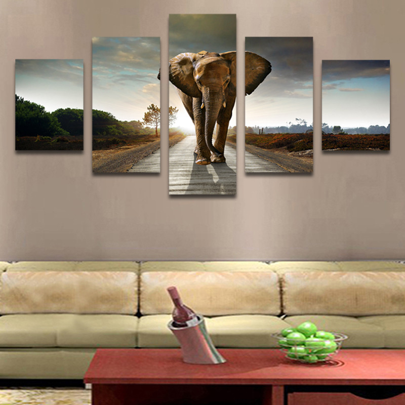 Unframed HD Print 5 Canvas Art Paintings Elephant Canvas Mural Living Room Decoration Picture Unframed Free Shipping