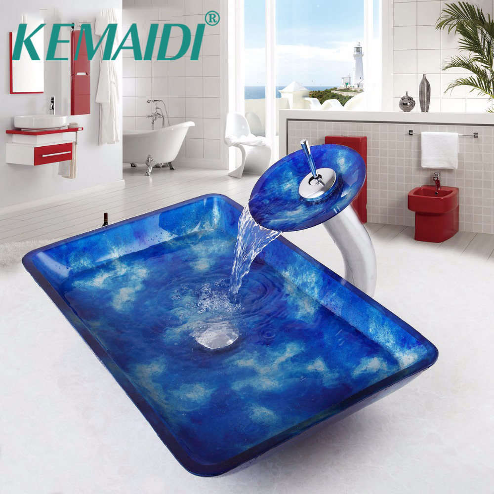 KEMAIDI Bathroom Sink Artistic tempered Glass Vessel Vanity Hand Paint Countertop Bowl Vessel Tempered Glass Basin Faucet Set fashion style round hand painted artistic victory vessel wash basin tempered glass sink bathroom basin