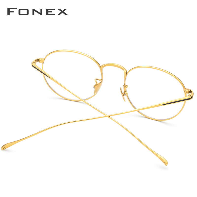Marco de gafas de titanio puro Vintage ultraligero para hombre, montura de gafas de prescripción óptica de miopía redonda, gafas coreanas para mujer, 888 - 4