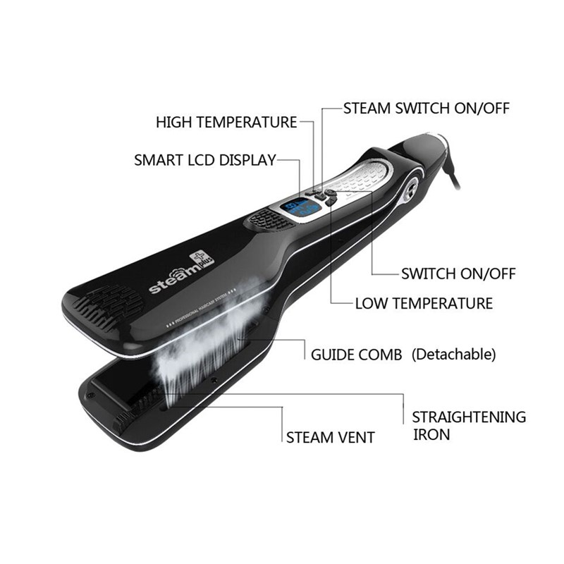 LCD Display Fashion Personalized Steam Hair Flat Iron Professional Steam-pod Hair Straightener Iron Fast PTC Heating ckeyin ptc 30s fast straightening iron