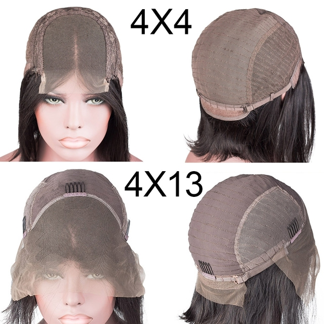 Short Bob Human Hair Lace Frontal Wig Brazilian Straight Remy Bob Transparent Lace Wig Pre-plucked Baby Hair