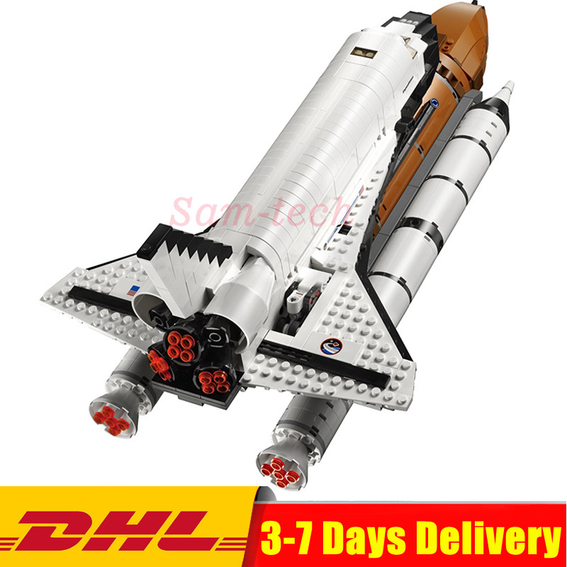 2018 DHL LEPIN 16014 1230Pcs Out of Print Space Shuttle Expedition Model Building Kits Set Blocks Bricks Children Toy 10231 in stock new lepin 16014 1230pcs space shuttle expedition model building kits mini blocks bricks compatible children toy 10231