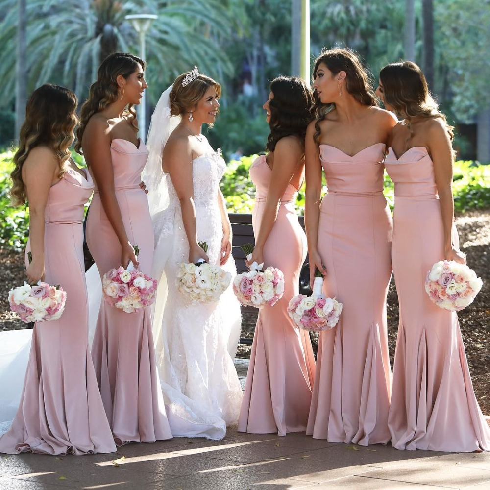 Robe Demoiselle D'honneur Sweetheart Backless Pink Bridesmaid Dresses Long Satin Prom Dresses Wedding Party Gown