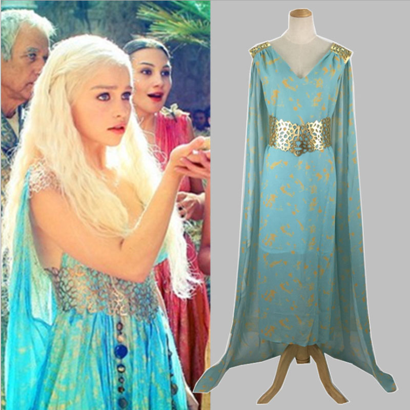Women TV Game Thrones Queen Daenerys Targaryen Cosplay Costume Blue Party Dress Adult Halloween Costume For Women Plus Size 2XL