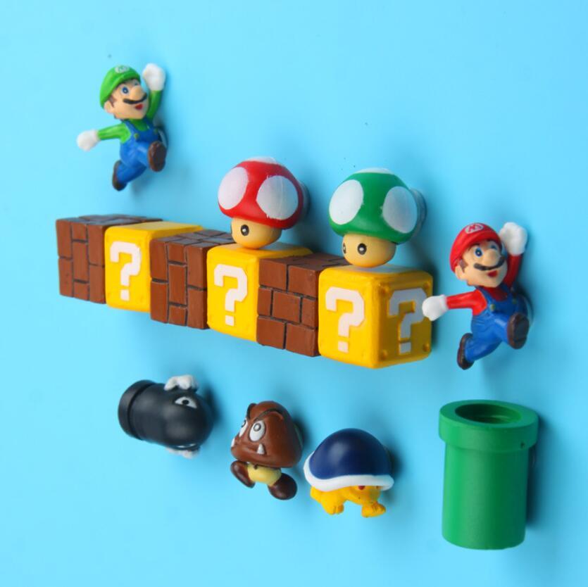 Cute Mini 3D Super Mario Fridge Magnets Figurine Toys For Children Kids Metal Surface Magnetive Super Bros Action Figura Toys figurine