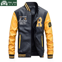 New Embroidery Baseball Jacket Men Casual Mens Leather Jackets Fashion Patchwork Leather Coat Hombre Fleece Liner Size M 4XL