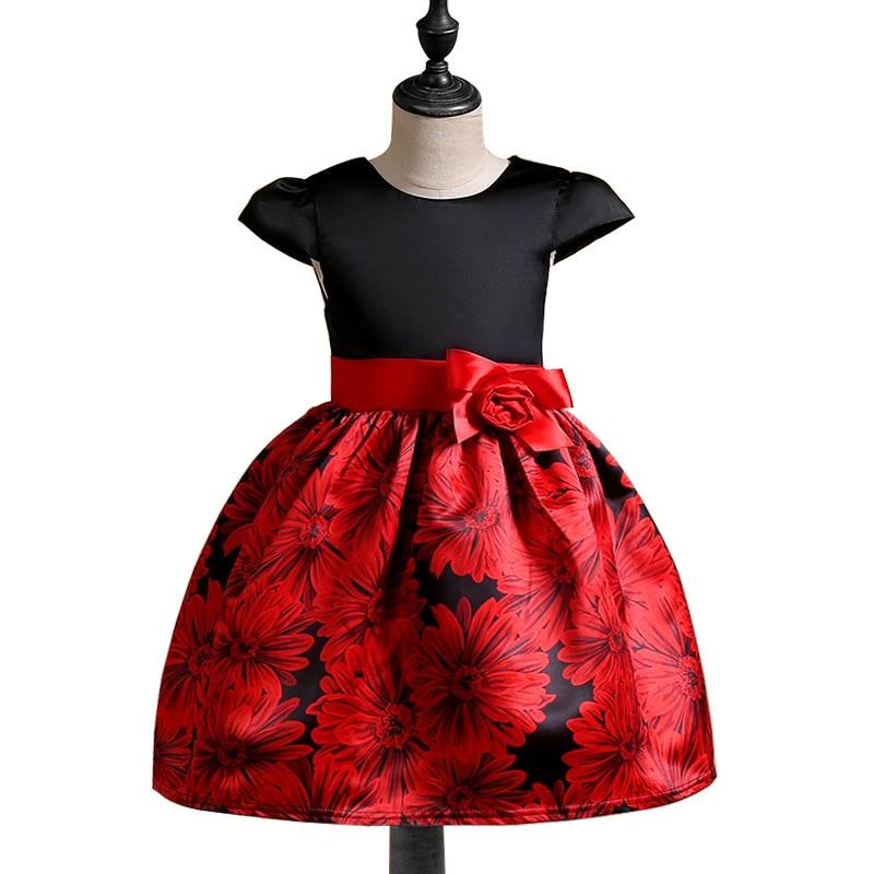 2018 Kids frocks Flowers Jacquard baby Girls princess Wedding Birthday party dress vetement enfant fille For 2 4 6 8 10 Years платье для девочек unbrand baby v 2 6 kids dress