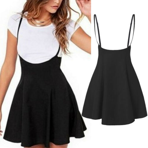 2019 Women's High Waist Strap Mini Skirt Pleated Skater Overall Flare Suspender Skirt
