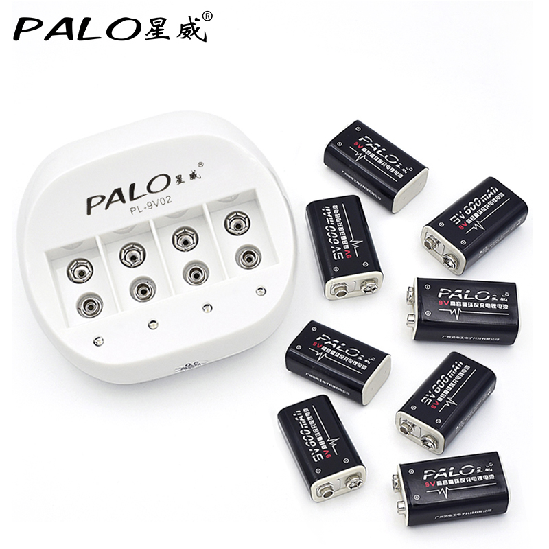 2017 PALO Charger New Rechargeable 6F22 9V Battery Charger For AA AAA 9V Ni-MH Ni-Cd Batteries With 8pcs LI-ion 9V batteries rechargeable 1 2v 3800mah aa ni mh batteries pair