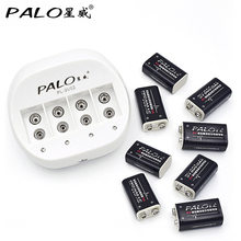 4 slots 9V Battery Charger for 9v 6f22 battery + 8 pcs Li-ion 600mah batteries