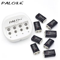 PALO Charger New Rechargeable 6F22 9V Battery Charger For AA AAA 9V Ni MH Ni Cd Batteries With 8pcs LI ion 9V batteries