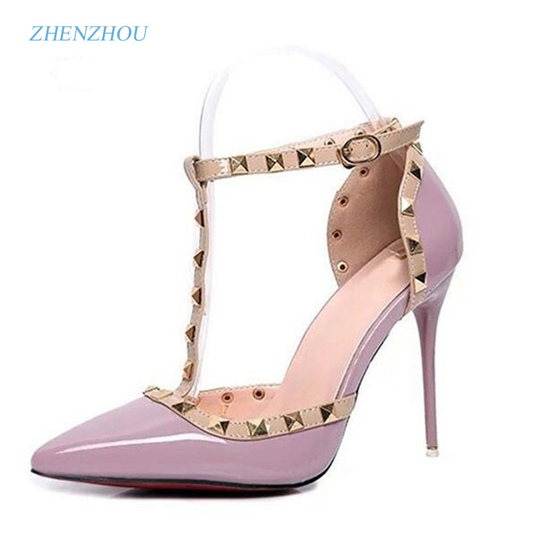 HOT Pumps 2017 Women's shoes Summer style fashion female sandals rivet Metal decoration pu leather style women high heels 2016 new arrival women fashion solid flower decoration summer female pu style casual shoes ld536169