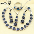 XUTAAYI Fetching Alluring Blue Synthetic Sapphire 4PCS Jewelry Set 925 Sterling Silver Earrings Ring Necklace Pendant Bracelet