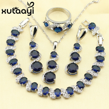 XUTAAYI Fetching Alluring Blue Synthetic Sapphire 4PCS Jewelry Set 925 Sterling Silver Earrings Ring Necklace Pendant Bracelet цена