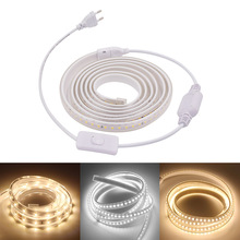 220V LED Strip Light 2835 High Brightness Safety 8W/m 16W/m Flexible Outdoor Waterproof ON/OFF Switch