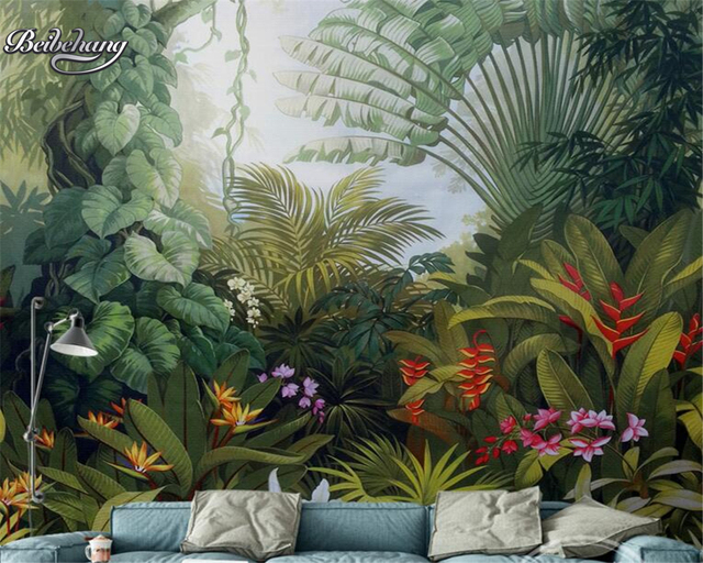 Beibehang Hand Painted Tropical Rainforest Background Mural 3D Living Room Bedroom Home Decoration Photo