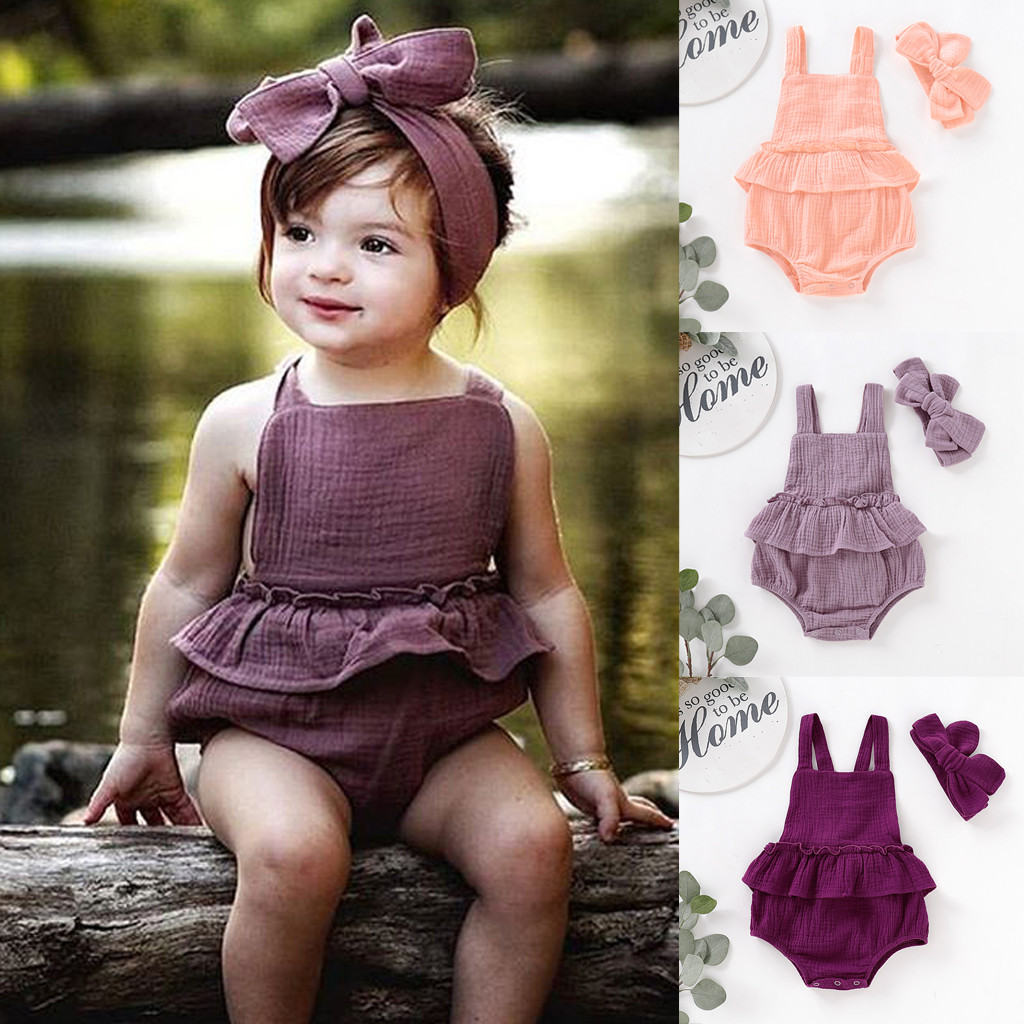 Summer Baby Girls Clothing Set Children Strap Ruffled Solid Color   Romper   Toddler Kids Jumpsuits Outfits Infant Beach Sunsuit