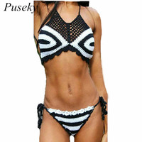 Women Sexy Hand Rochet Knit Bikini Set Zebra Swimsuit Swimwear Bathing Suit