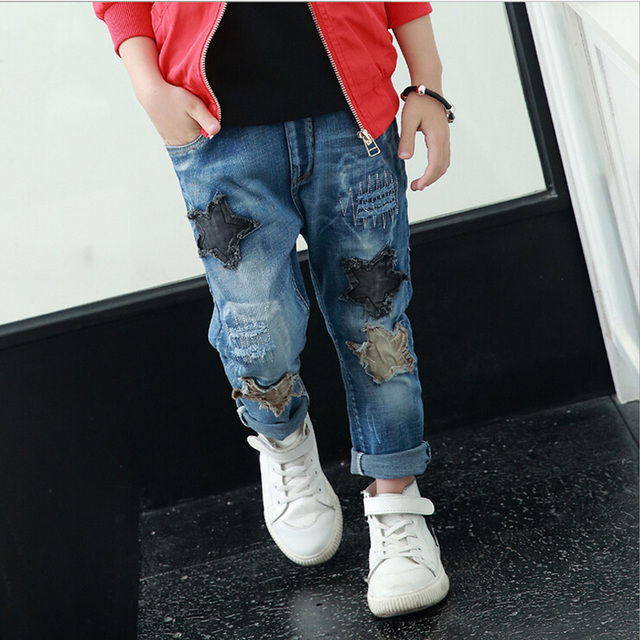 Boys Jeans Children's clothing Spring 2017 New  Denim Jeans Partchwork FIve Stars Hot Selling Casual Pants Trousers