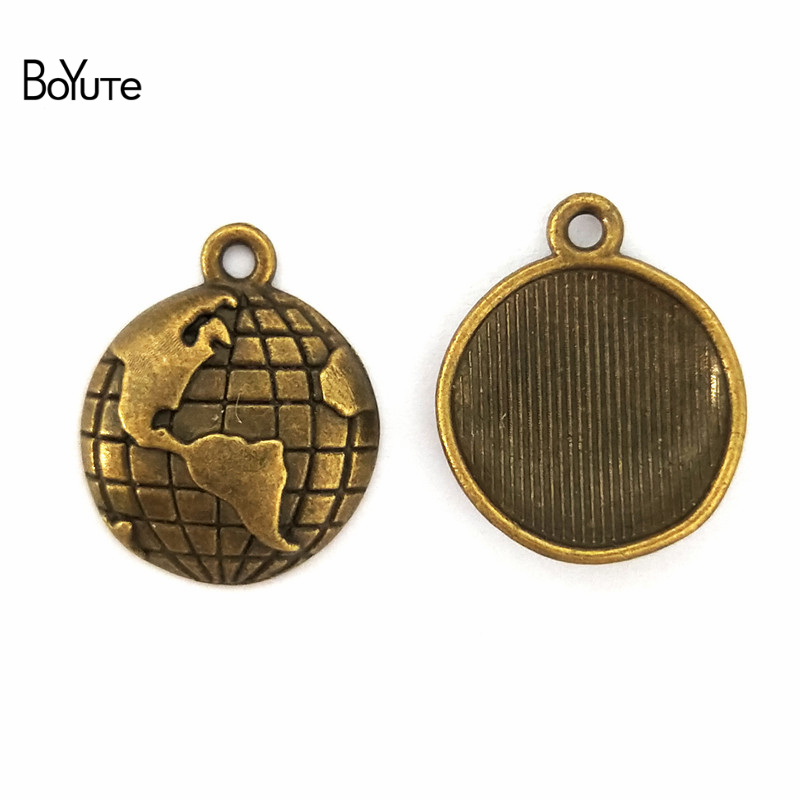 BoYuTe (50 Pieces /lot) 15MM Zinc Alloy Travel Theme Planet Globe Charms Vintage Style Earth World Map Pendant Diy Jewelry
