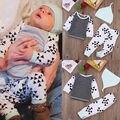 3 pcs Do Bebê Da Menina do Menino Crianças Camisa Calças Chapéu Do Bebê Recém-nascido Cap Roupas Outono Outfits Vestuário Set