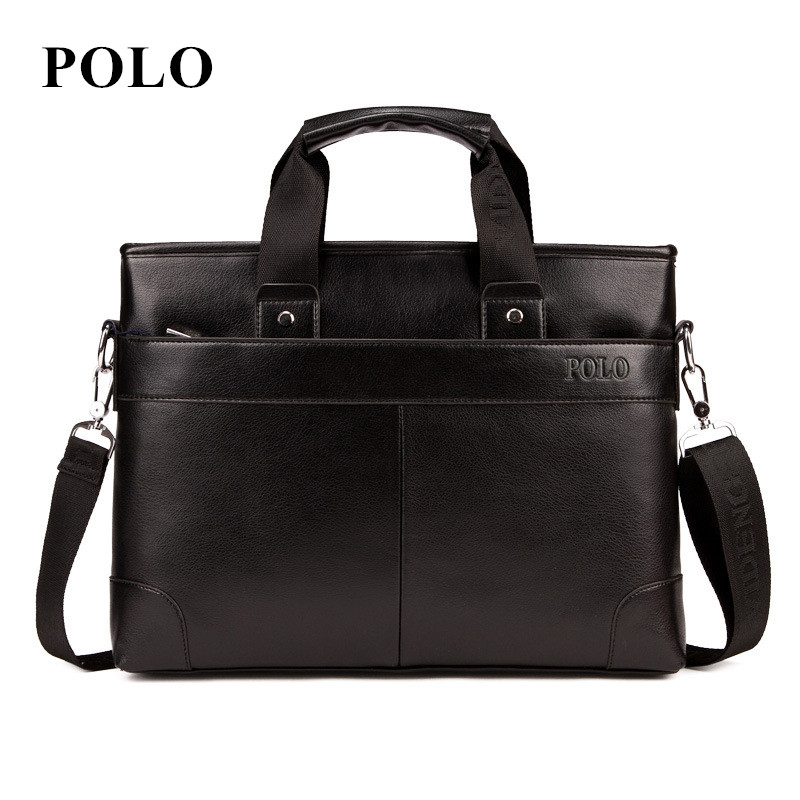 2018 POLO Men Casual Briefcase Business Shoulder Bag pu Leather Messenger Bags Computer Laptop Handbag Bag Men's Travel Bags 2017 men casual briefcase business shoulder bag genuine leather messenger bags computer laptop handbag bag men s travel bags