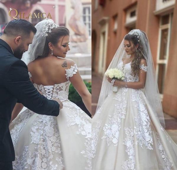 Vintage Lace 2019 Arabic Wedding Dresses A Line Off The Shoulder Saudi Bridal Gowns Lace Up Back Long Formal Retro Wedding Gowns