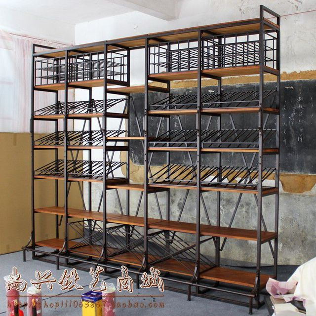 american country style wrought iron wine rack wine cooler wood racks shelf display shelves grid. Black Bedroom Furniture Sets. Home Design Ideas