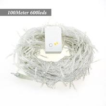 Best price 4pcs LED Christmas Light 100M 600Leds AC220V 42W 9colors RGB white Led String Light For Christmas Tree Lights