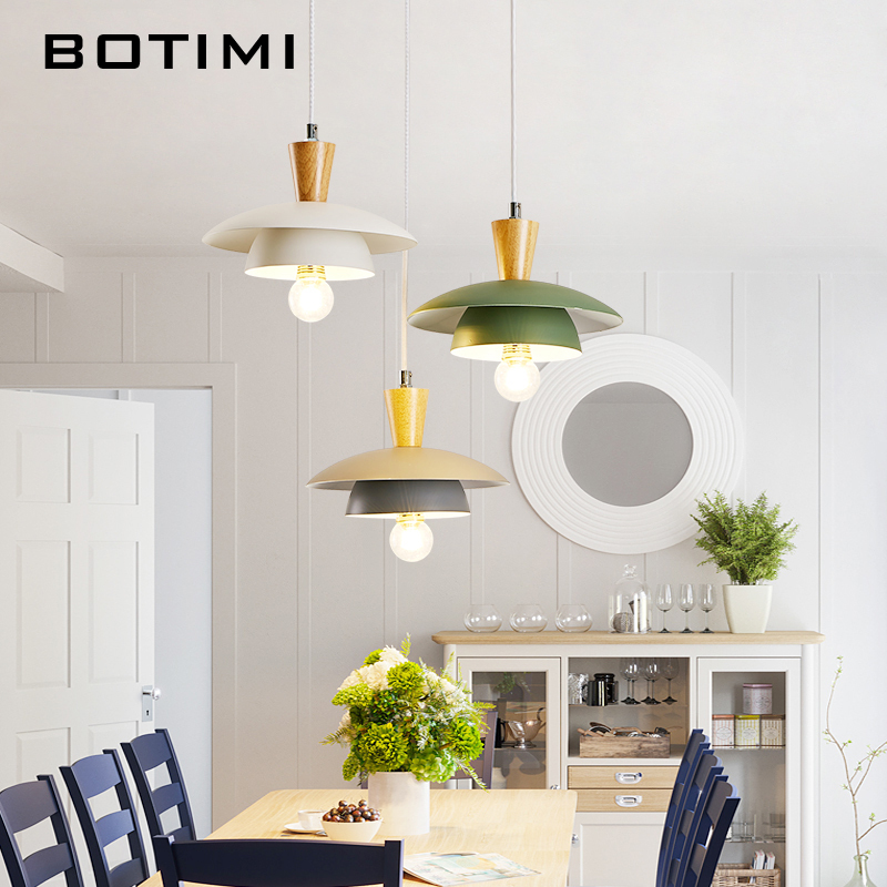 BOTIMI Nordic LED Pendant Lights With Metal Lampshade For Dining Room Triple Wooden Pendant Lamp Restaurant Lustre LightingBOTIMI Nordic LED Pendant Lights With Metal Lampshade For Dining Room Triple Wooden Pendant Lamp Restaurant Lustre Lighting
