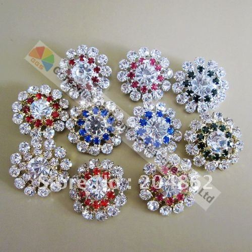 100pcs 30mm Various Colors Czech Clear Crystal Rhinestone Button Round Metal Centerpiece Gold Sliver Tone for