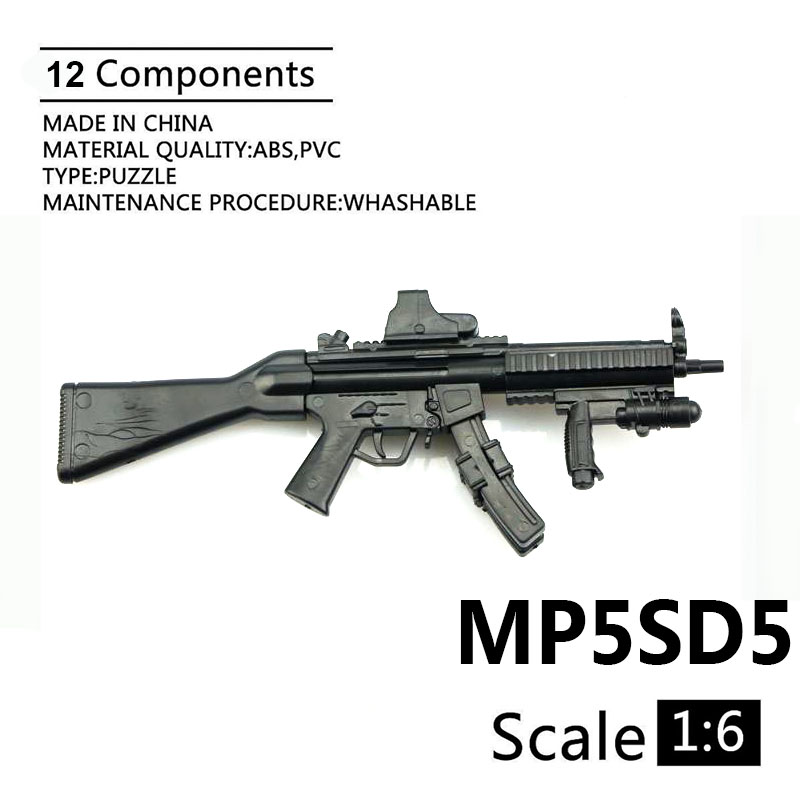 1:6 MP5SD5 Submachine Gun 1/6 Plastic Assembled Firearm Puzzle Model For 12
