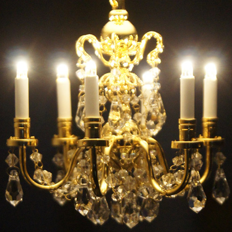 BLACK Crystal Chandelier 6arms battery LED LAMP Dollhouse miniature light switch