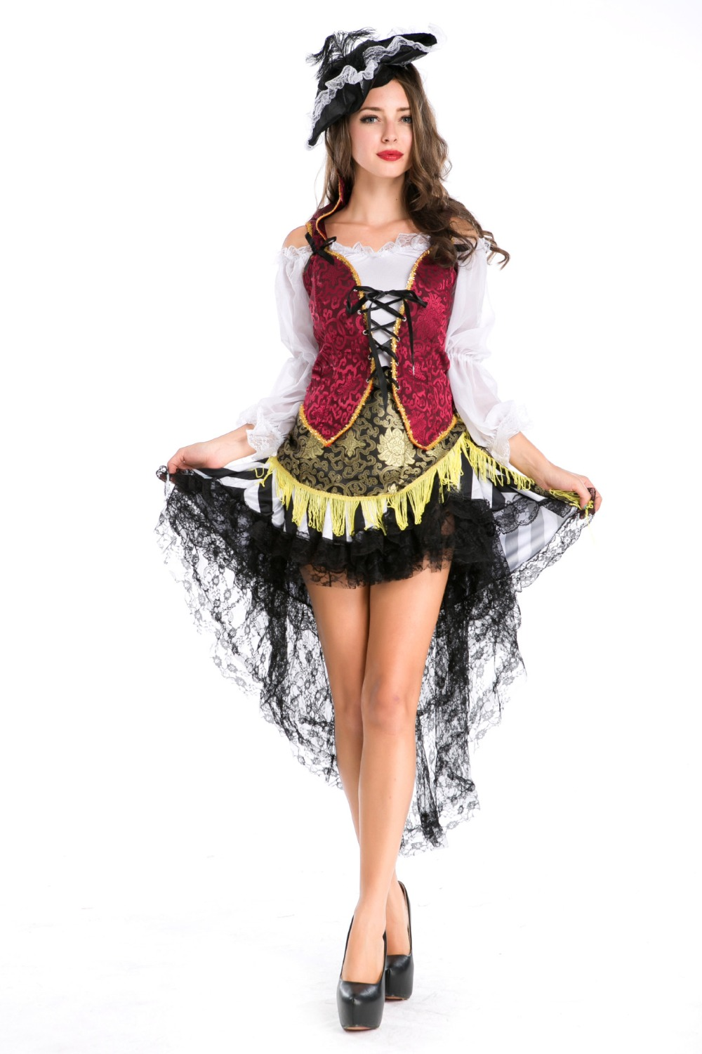 High Quality New Fashion Halloween Costume Adult Women Fantasy Cosplay Pirate Costumes -8138