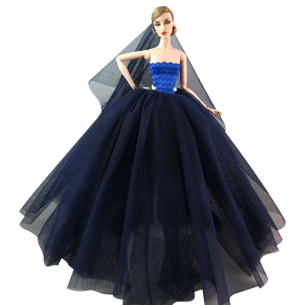 NK  One Set Princess Doll  Wedding  Dress Noble Party Gown For Barbie Doll Fashion Design Outfit Best Gift For Girl' Doll