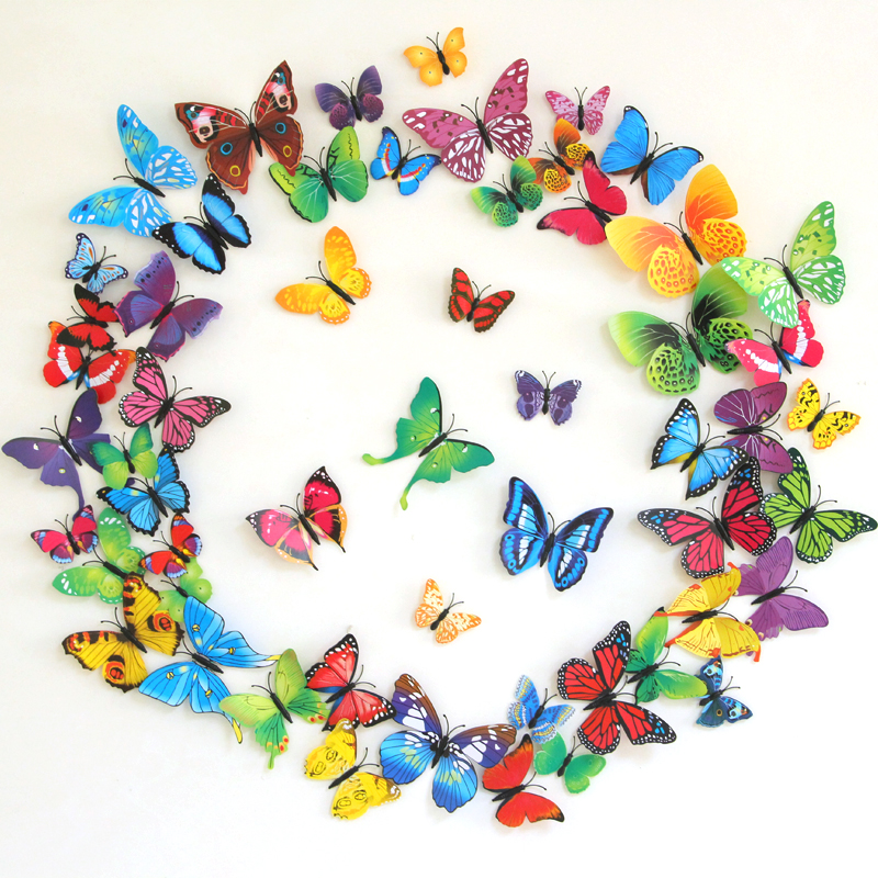 12pcs 3D Butterfly Wall Stickers For Living Room Bedroom Halloween Christmas Party Decoration PVC Butterflies With Pin Art DC23