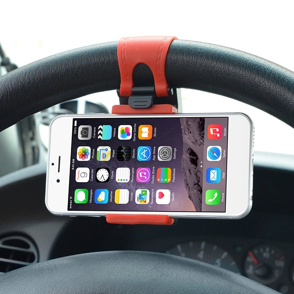 Universal Car Holder Steering Wheel Bike Clip Mount Rubber Band Holder For IPhone For Samsung For Lenovo Mobile Phone Bracket