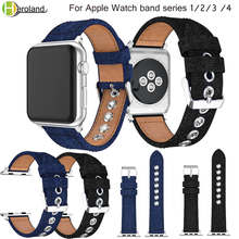 Correa de tela vaquera para Apple Watch band series 1/2/3/4 42mm 38mm pulsera de reloj banda serie 4 40mm 44mm correa de lona(China)
