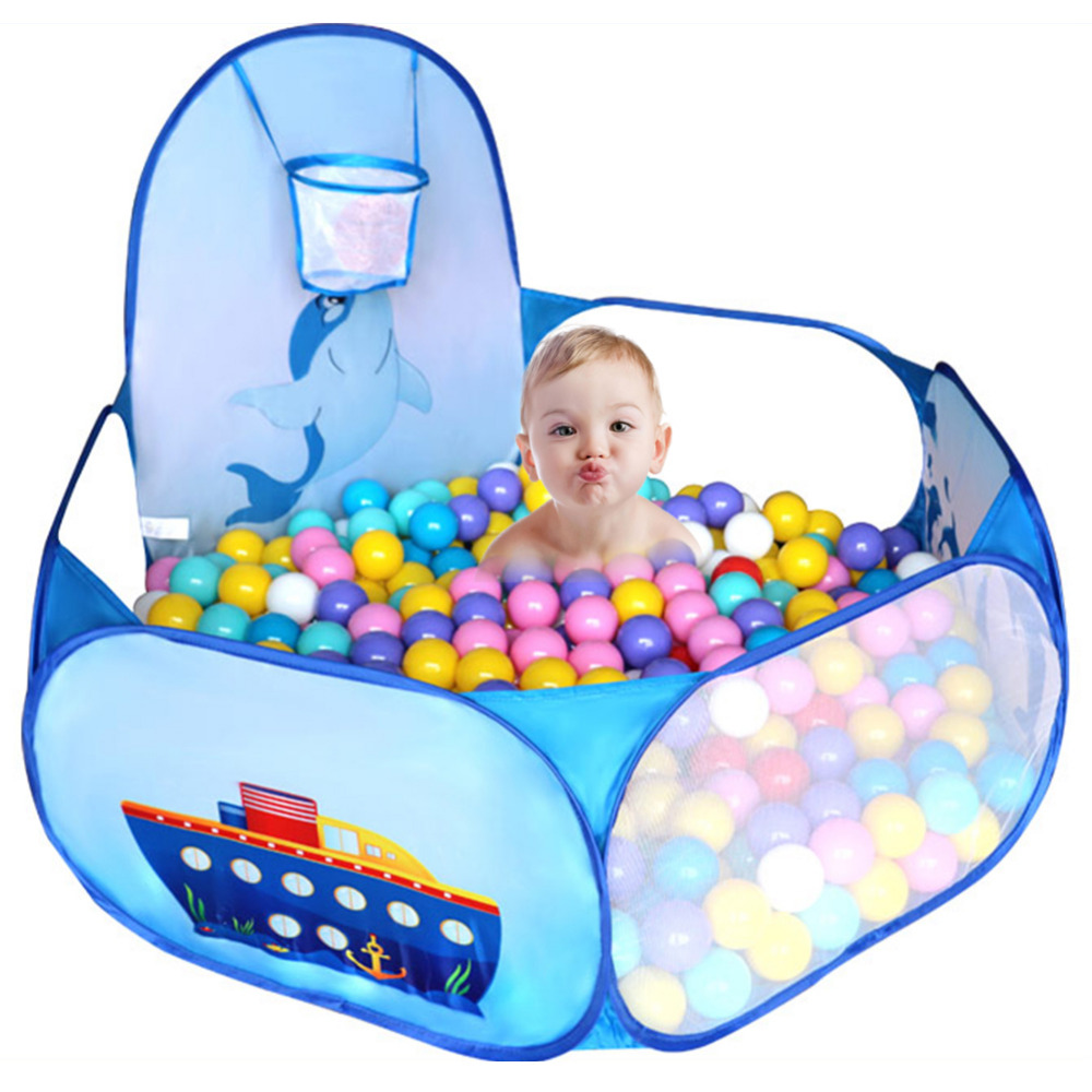 Children Cartoon Dolphin Pattern Baby Ball Pit Foldable Washable Toy Pool Children Hexagon Ocean Game Play Tent House