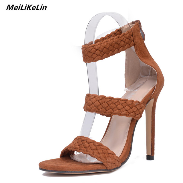 34d3b5373e805 MeiLiKeLin Three Belts Gladiator Sandals Women High Heels Woven Sandals  Brown Thin Heel Italy Catwalk Sandles Sexy Sandles Femme