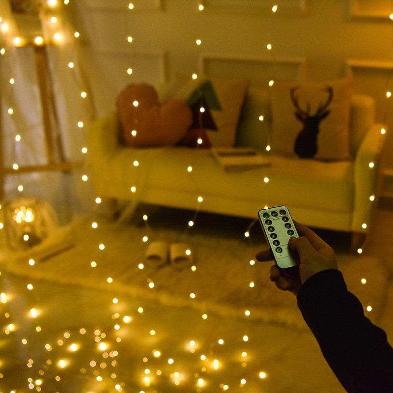 Image 4 - 3Mx3M 300 LED 9 Colors Lights Romantic Christmas Wedding Decoration Outdoor Curtain String Light Remote control 8 modes USB Lamp-in LED String from Lights & Lighting on