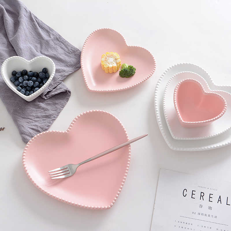 Frosted Ceramic Tableware Breakfast Plate Love Heart Dish Heart Shaped Bowl Couple Plate Creative Dessert plates hollowware