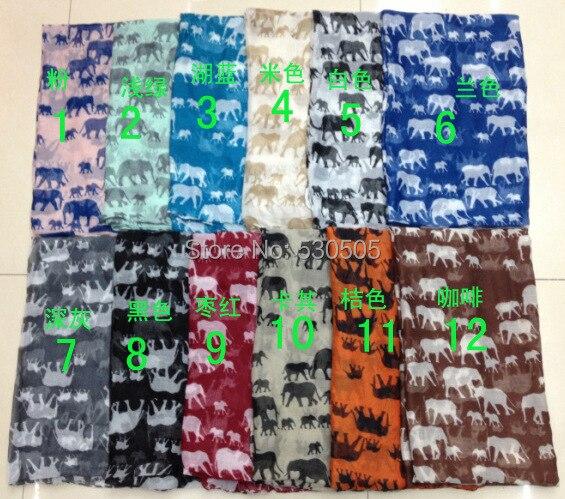 elephant Print Scarf Wrap Shawl Dámské doplňky Šátky100pcs / lot Doprava zdarma