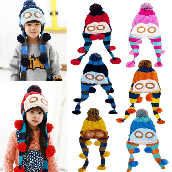 Best price Children Kids Earflap Hat Autumn Winter Knitted Cap with 2 Long Braids for top quality