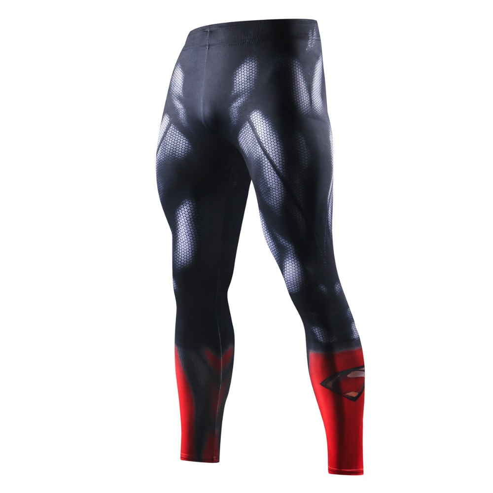 NEW Superman Skinny Sweatpants Compression Pants Men Fashion Leggings Jogger Men 3D Fitness Exercise Pants Elastic Mens Trousers