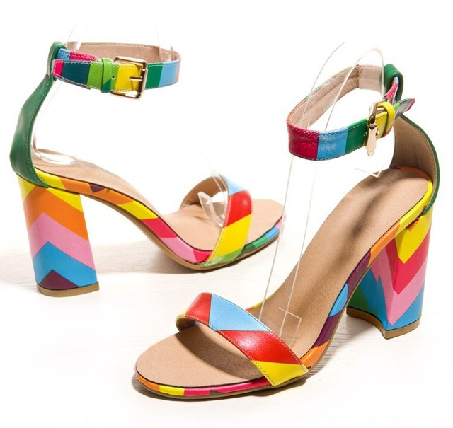 25a2542fcfc New 2015 Sandals Sexy Women Rainbow Women Dress Shoes Multi Colored Heels  Elegant Party Shoes Summer Style Platform Sandals
