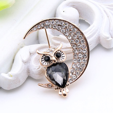 New Arrived Ladies Animal Rhinestone Twilight Brooch Owl Moon Broches Brooches Lapel Pin Jewelry Women Banquet Festival Gift