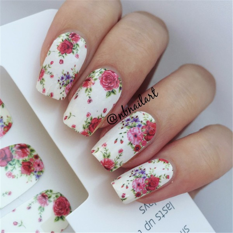 14pcssheet Flowers Nail Wraps Red Rose Nail Art Full Stickers