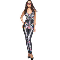 Sugar Skull Adult Womens Halloween Catsuit Costume Sexy Nightclub Performances Leopard Costumes LC8854