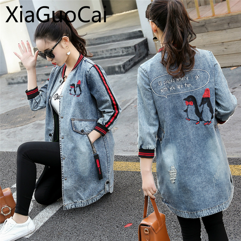 Newest Style Women Denim Jacket Embroidery Flower Clothes Coats Worn Out Wild Windbreaker Female Jeans Jackets